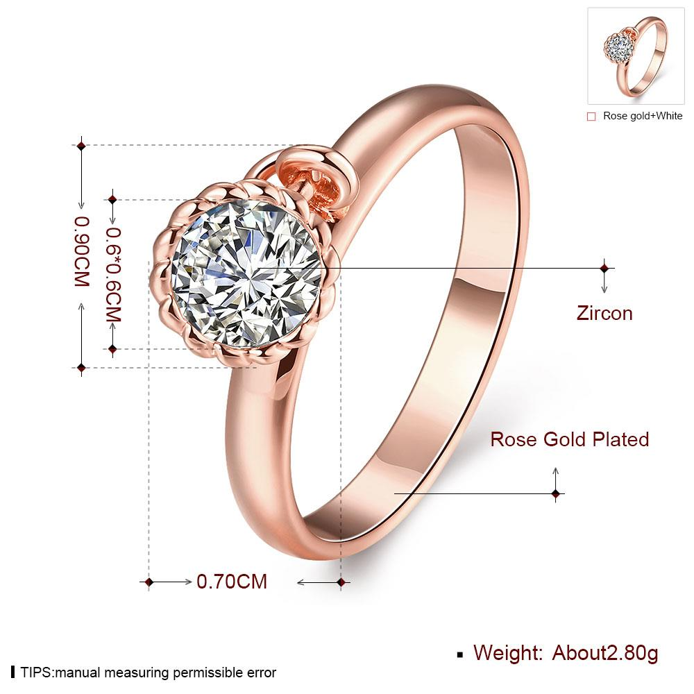 Wholesale Fashion jewelry from China Trendy white flower AAA+ Cubic zircon Ring  For Women Romantic Style rose Gold color Hot jewelry TGCZR253 0