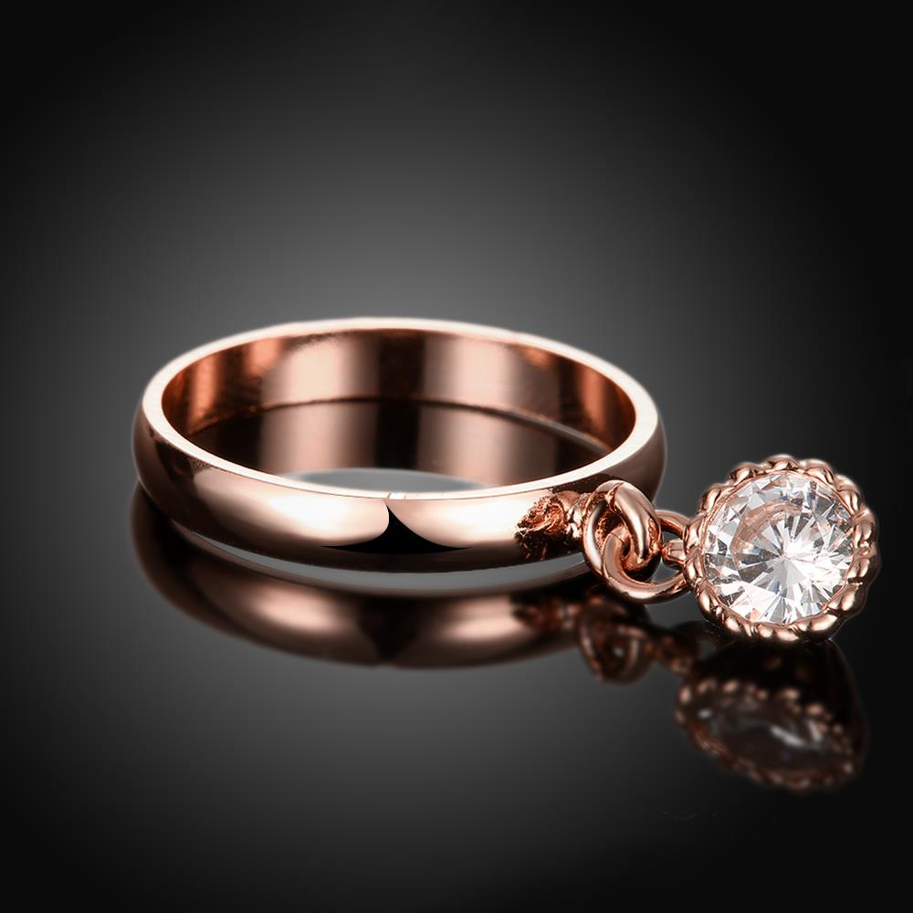 Wholesale Fashion jewelry from China Trendy white flower AAA+ Cubic zircon Ring  For Women Romantic Style rose Gold color Hot jewelry TGCZR253 1