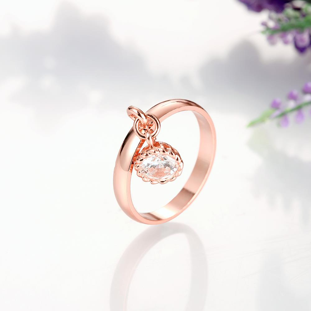 Wholesale Fashion jewelry from China Trendy white flower AAA+ Cubic zircon Ring  For Women Romantic Style rose Gold color Hot jewelry TGCZR253 2