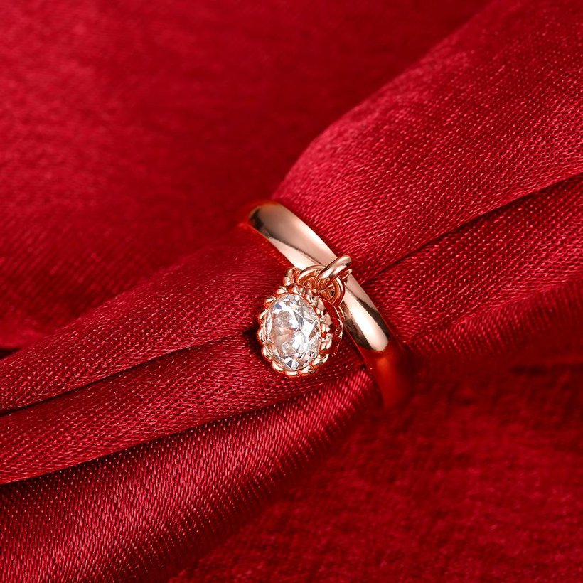 Wholesale Fashion jewelry from China Trendy white flower AAA+ Cubic zircon Ring  For Women Romantic Style rose Gold color Hot jewelry TGCZR253 3