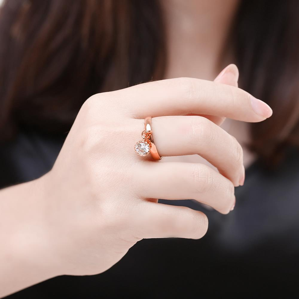 Wholesale Fashion jewelry from China Trendy white flower AAA+ Cubic zircon Ring  For Women Romantic Style rose Gold color Hot jewelry TGCZR253 4