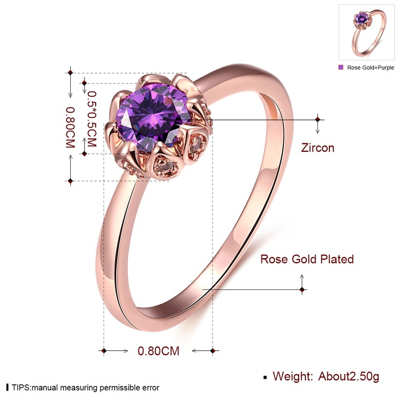 Wholesale Fashion Romantic Rose Gold Plated  purple CZ Ring nobility Luxury Ladies Party engagement jewelry Best Mother's Gift TGCZR292 0