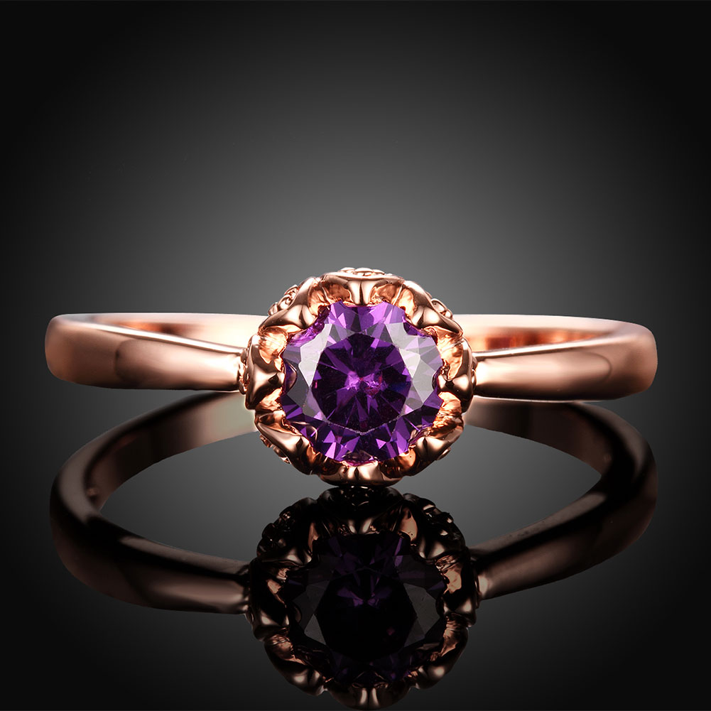 Wholesale Fashion Romantic Rose Gold Plated  purple CZ Ring nobility Luxury Ladies Party engagement jewelry Best Mother's Gift TGCZR292 1