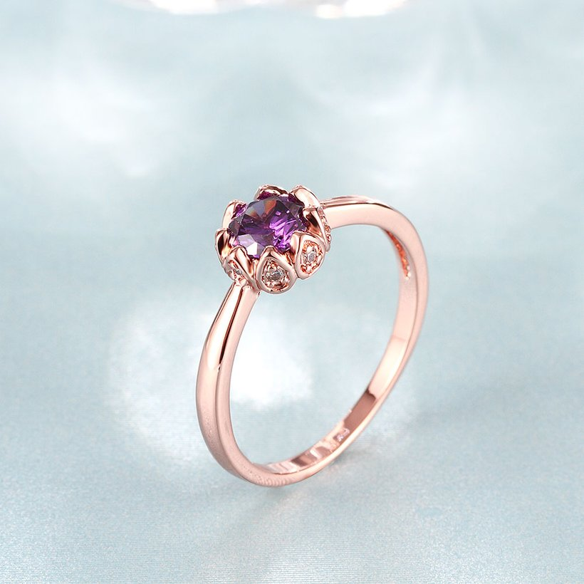 Wholesale Fashion Romantic Rose Gold Plated  purple CZ Ring nobility Luxury Ladies Party engagement jewelry Best Mother's Gift TGCZR292 2