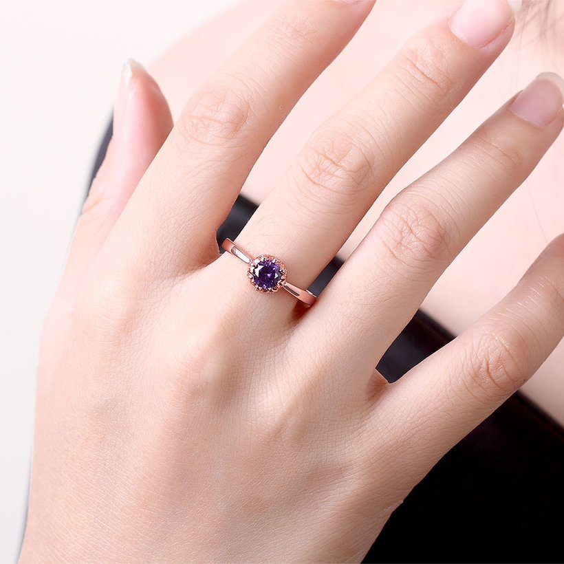 Wholesale Fashion Romantic Rose Gold Plated  purple CZ Ring nobility Luxury Ladies Party engagement jewelry Best Mother's Gift TGCZR292 3