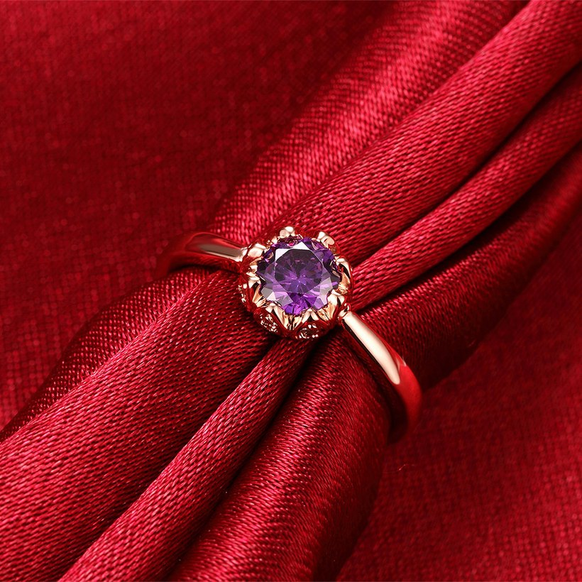 Wholesale Fashion Romantic Rose Gold Plated  purple CZ Ring nobility Luxury Ladies Party engagement jewelry Best Mother's Gift TGCZR292 4