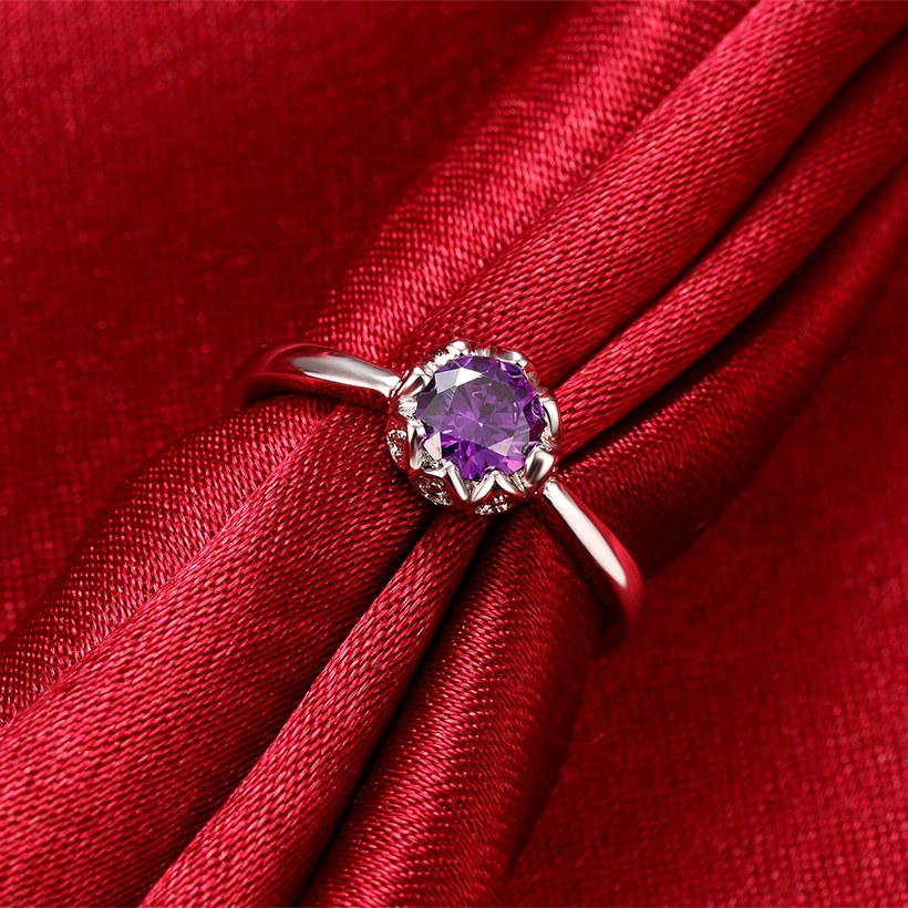 Wholesale Fashion Romantic platinum flower purple CZ Ring nobility Luxury Ladies Party engagement jewelry Best Mother's Gift TGCZR296 0