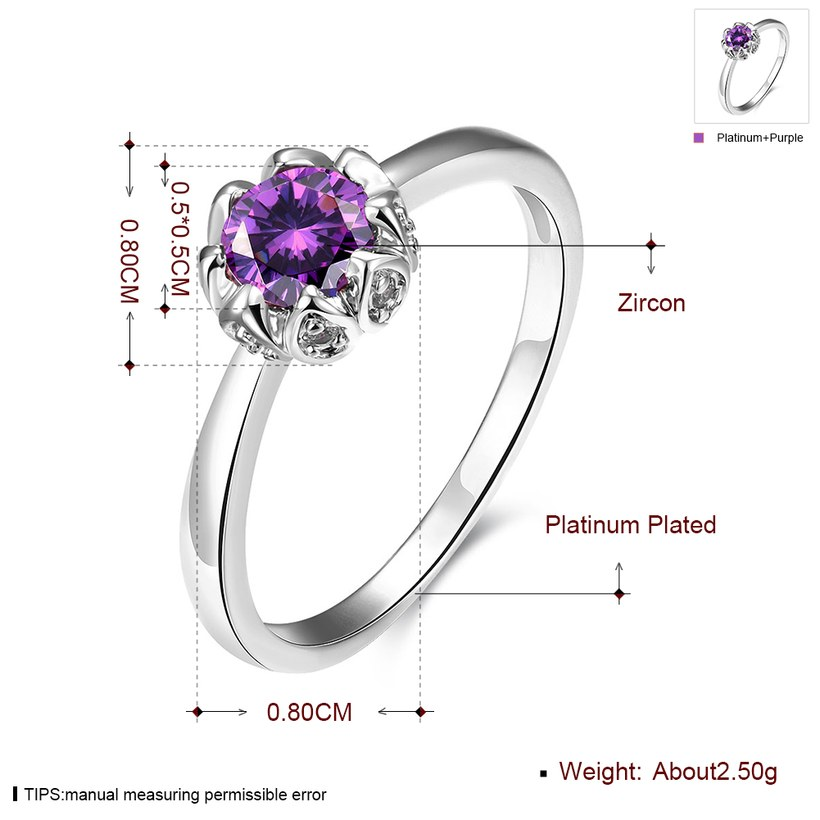 Wholesale Fashion Romantic platinum flower purple CZ Ring nobility Luxury Ladies Party engagement jewelry Best Mother's Gift TGCZR296 1