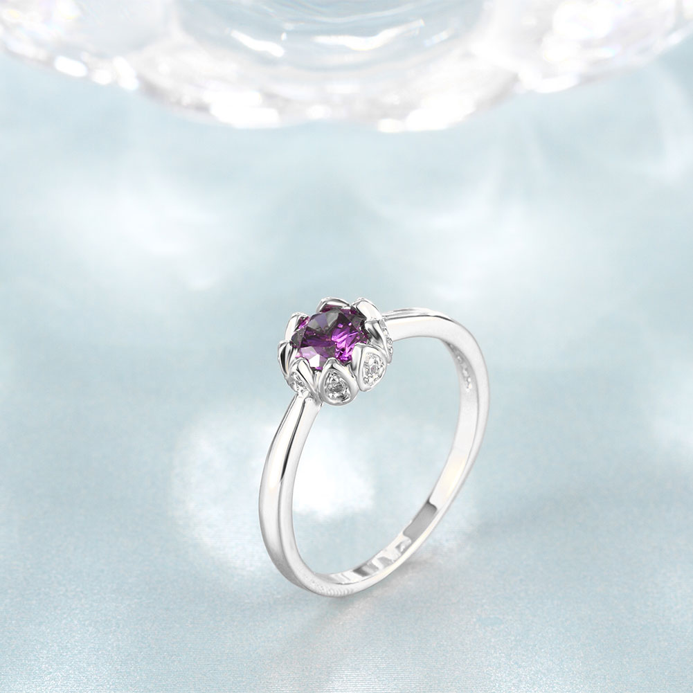 Wholesale Fashion Romantic platinum flower purple CZ Ring nobility Luxury Ladies Party engagement jewelry Best Mother's Gift TGCZR296 3