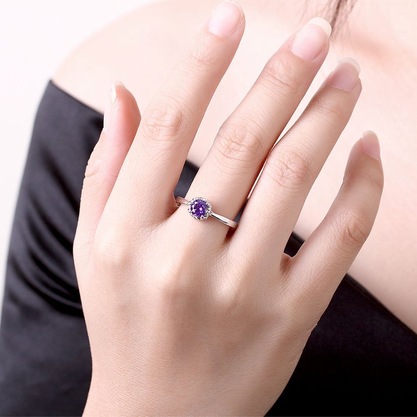 Wholesale Fashion Romantic platinum flower purple CZ Ring nobility Luxury Ladies Party engagement jewelry Best Mother's Gift TGCZR296 4