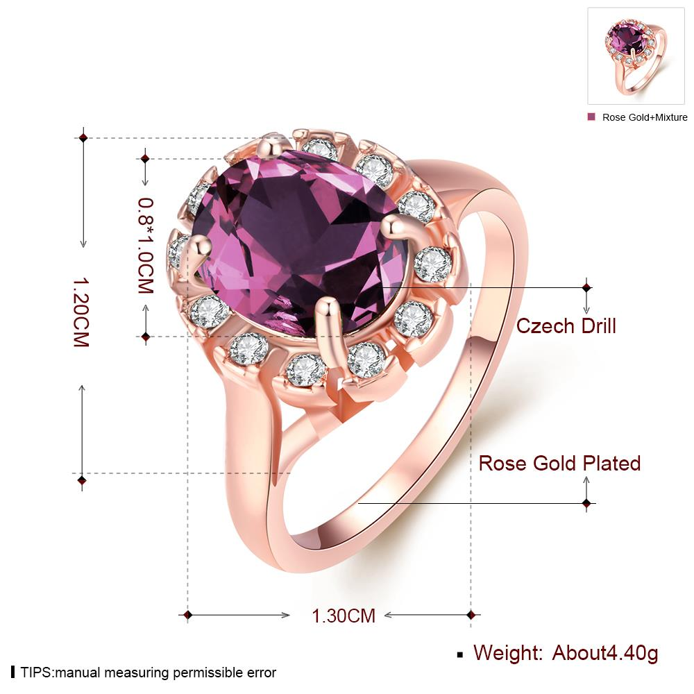 Wholesale Classic exquisite rose-golden rings big purple AAA zircon trendy fashion jewelry for women best Christmas gift TGCZR457 0