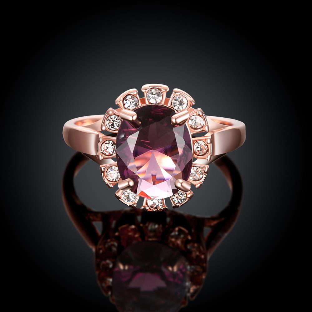 Wholesale Classic exquisite rose-golden rings big purple AAA zircon trendy fashion jewelry for women best Christmas gift TGCZR457 1