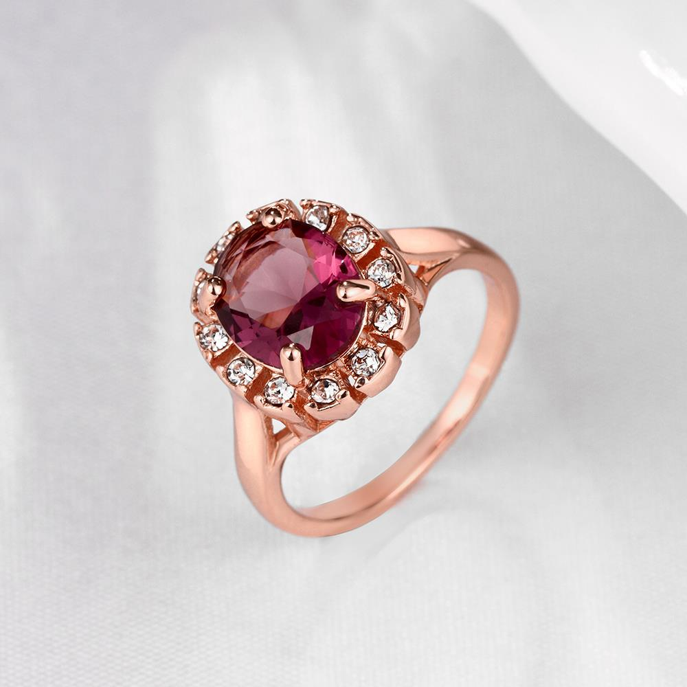 Wholesale Classic exquisite rose-golden rings big purple AAA zircon trendy fashion jewelry for women best Christmas gift TGCZR457 2
