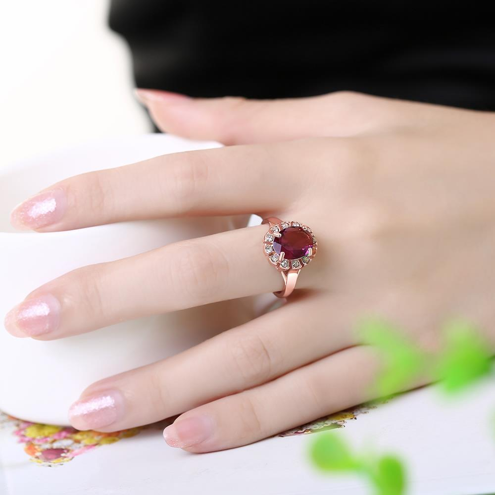 Wholesale Classic exquisite rose-golden rings big purple AAA zircon trendy fashion jewelry for women best Christmas gift TGCZR457 4