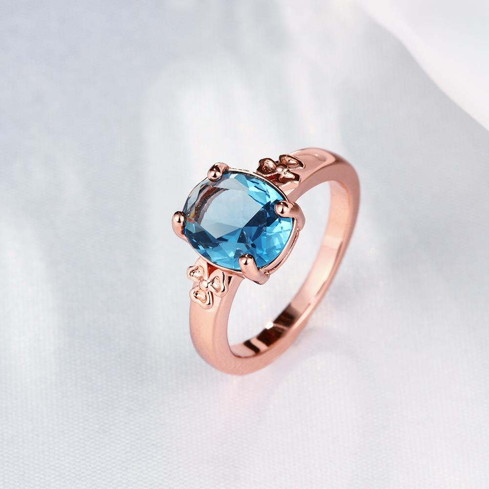 Wholesale Classic rose gold Ring Oval blue Zircon Women Ring Gorgeous Wedding Anniversary Birthday Gift for Wife/Mother/Grandmother TGCZR464 0