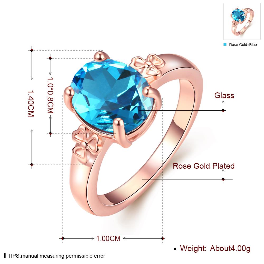 Wholesale Classic rose gold Ring Oval blue Zircon Women Ring Gorgeous Wedding Anniversary Birthday Gift for Wife/Mother/Grandmother TGCZR464 1