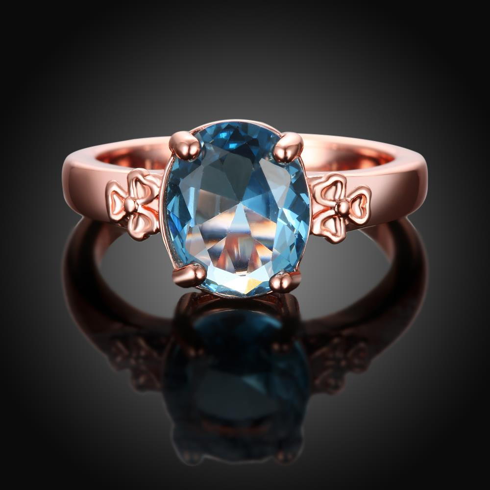 Wholesale Classic rose gold Ring Oval blue Zircon Women Ring Gorgeous Wedding Anniversary Birthday Gift for Wife/Mother/Grandmother TGCZR464 2