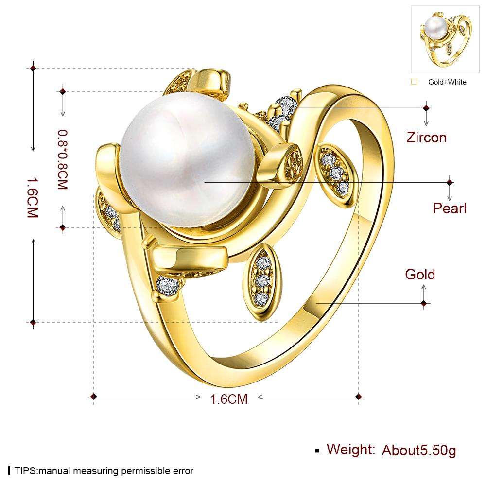 Wholesale Classic 24K Gold Plant White pearl Ring For Women Wedding Party Cute Fine Jewelry Accessories TGPR012 0