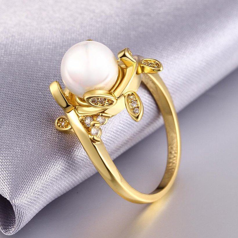 Wholesale Classic 24K Gold Plant White pearl Ring For Women Wedding Party Cute Fine Jewelry Accessories TGPR012 1