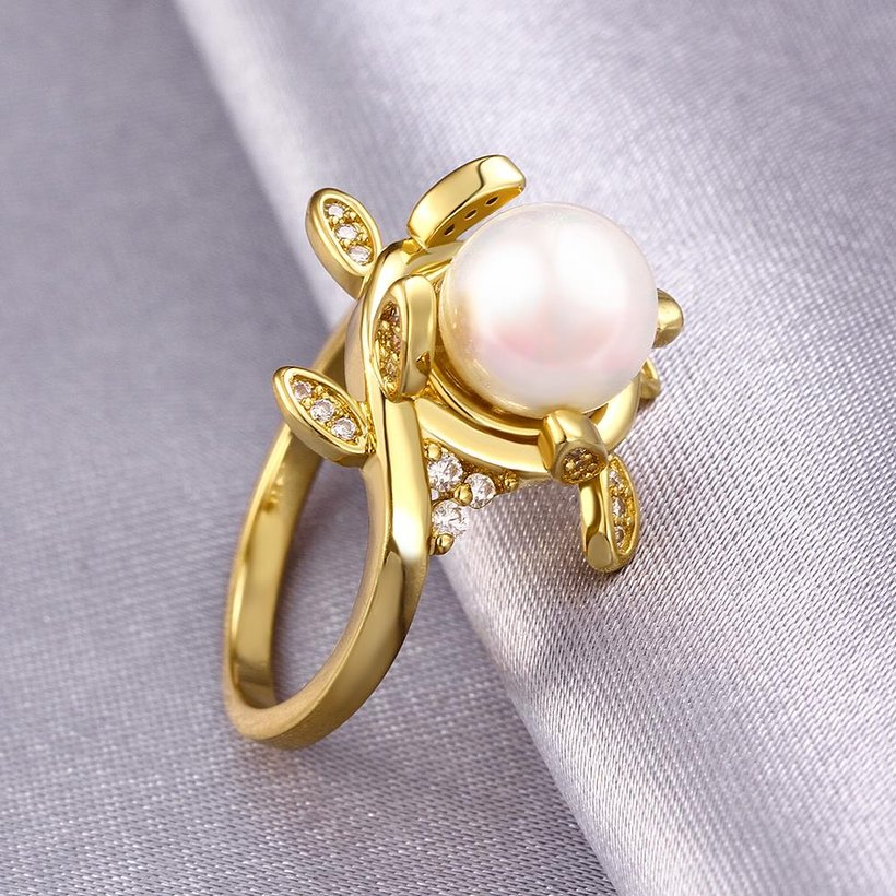 Wholesale Classic 24K Gold Plant White pearl Ring For Women Wedding Party Cute Fine Jewelry Accessories TGPR012 2