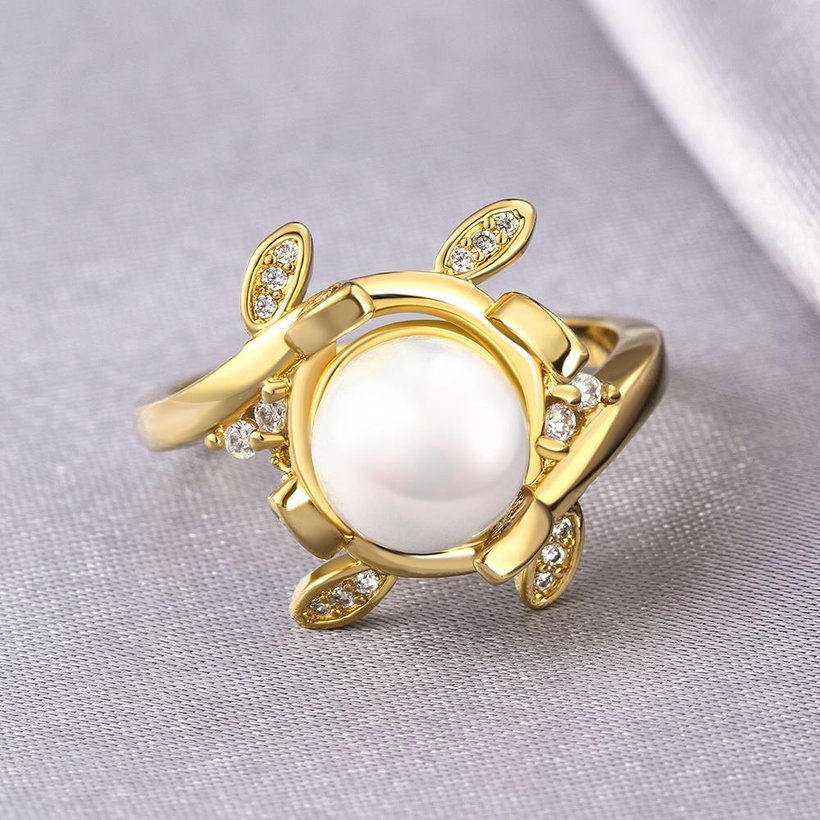 Wholesale Classic 24K Gold Plant White pearl Ring For Women Wedding Party Cute Fine Jewelry Accessories TGPR012 3