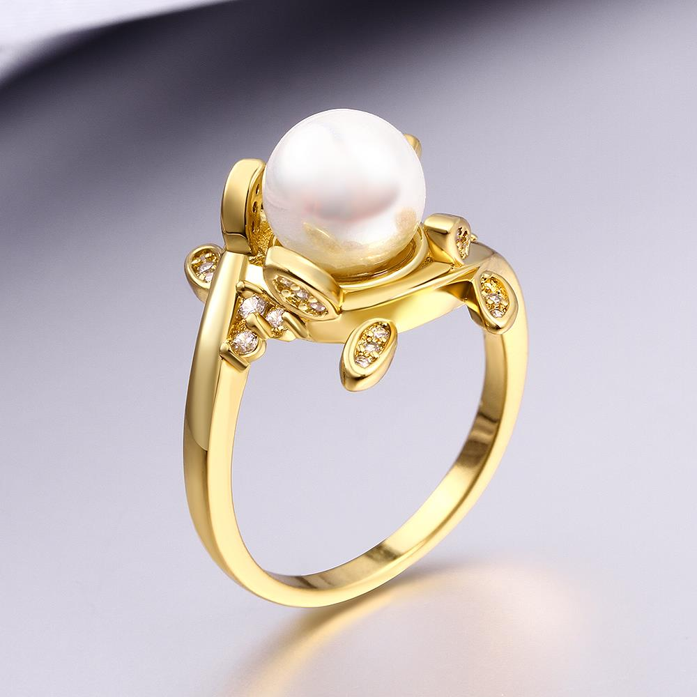 Wholesale Classic 24K Gold Plant White pearl Ring For Women Wedding Party Cute Fine Jewelry Accessories TGPR012 4