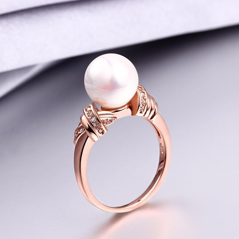 Wholesale Classic Rose Gold Plant White pearl zircon Ring For Women Wedding Party Cute Fine Jewelry Accessories TGPR014 0