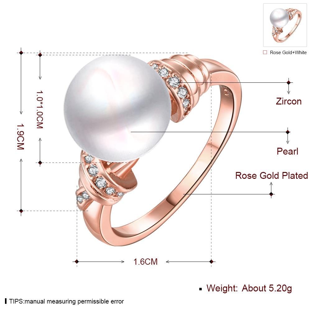 Wholesale Classic Rose Gold Plant White pearl zircon Ring For Women Wedding Party Cute Fine Jewelry Accessories TGPR014 1