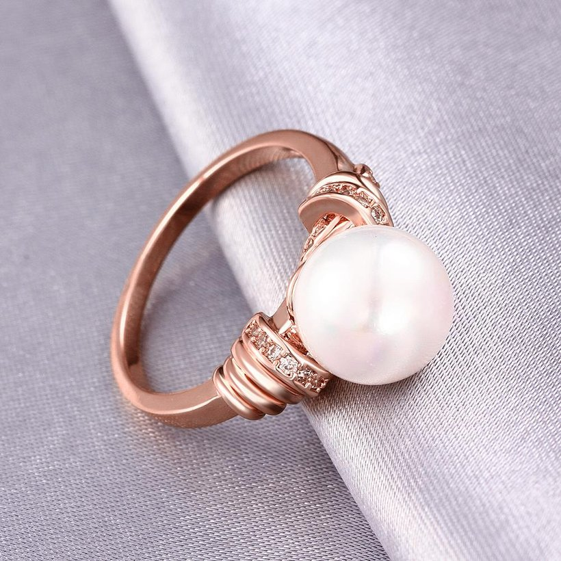 Wholesale Classic Rose Gold Plant White pearl zircon Ring For Women Wedding Party Cute Fine Jewelry Accessories TGPR014 2