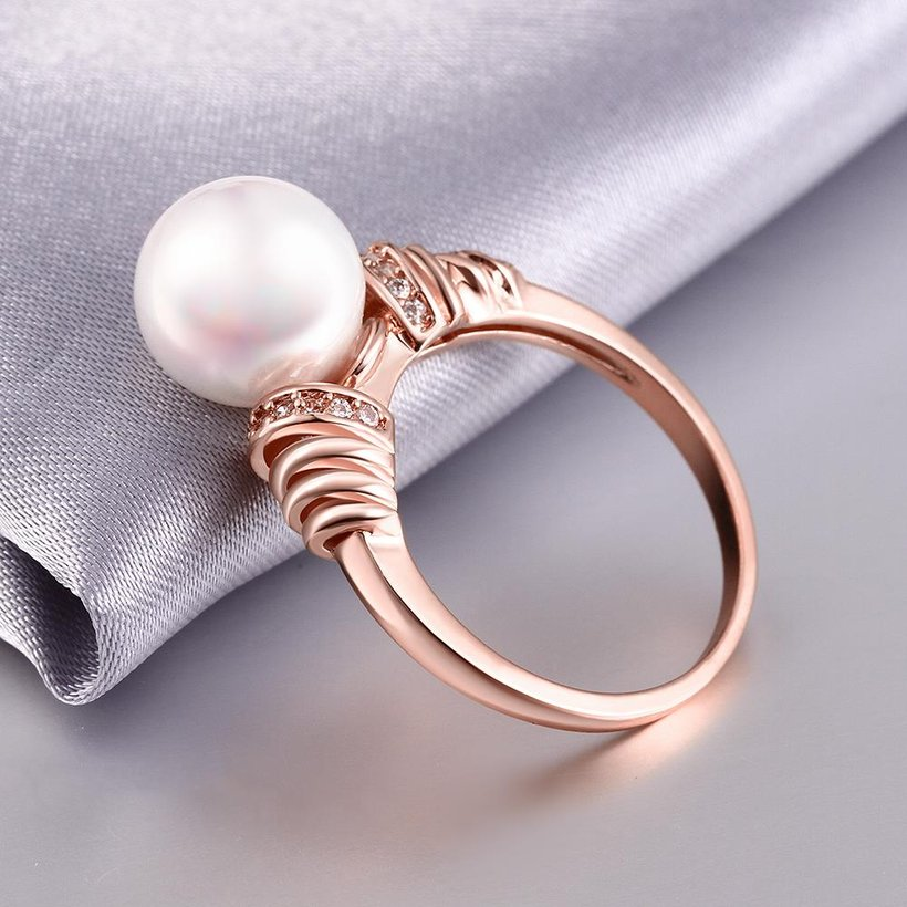 Wholesale Classic Rose Gold Plant White pearl zircon Ring For Women Wedding Party Cute Fine Jewelry Accessories TGPR014 4