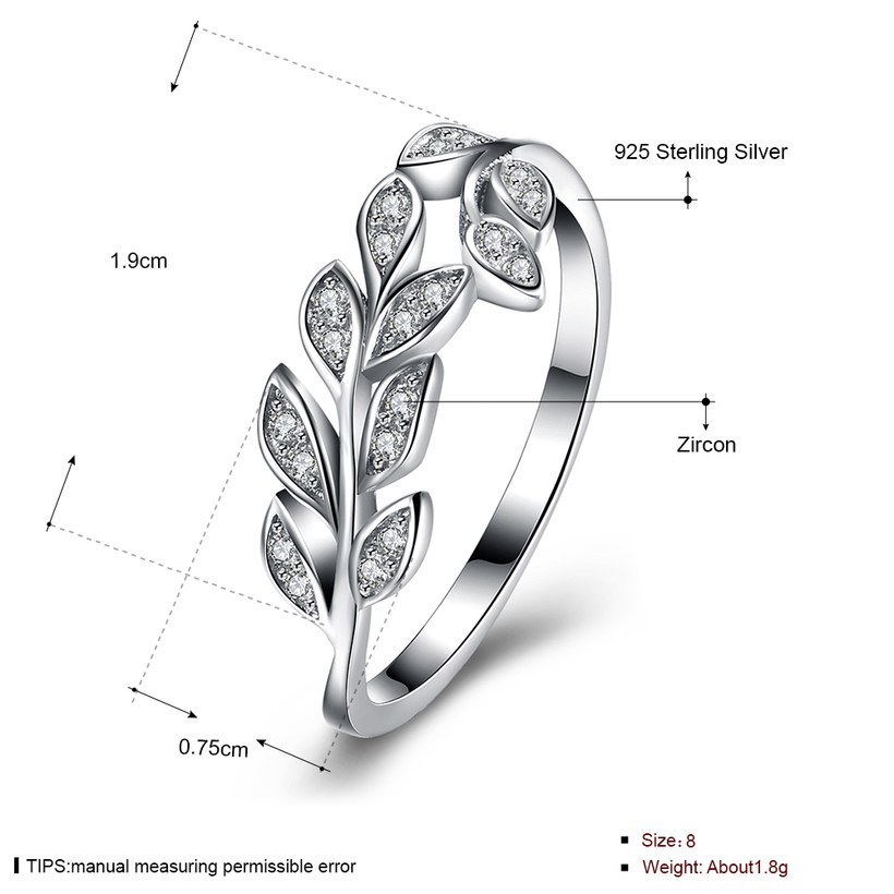 Wholesale Korean Trendy 925 Sterling Silver Handmade Olive Leaf Rings for Women Exquisite CZ Stone wholesale Jewelry TGSLR088 0