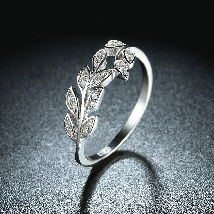 Wholesale Korean Trendy 925 Sterling Silver Handmade Olive Leaf Rings for Women Exquisite CZ Stone wholesale Jewelry TGSLR088 2