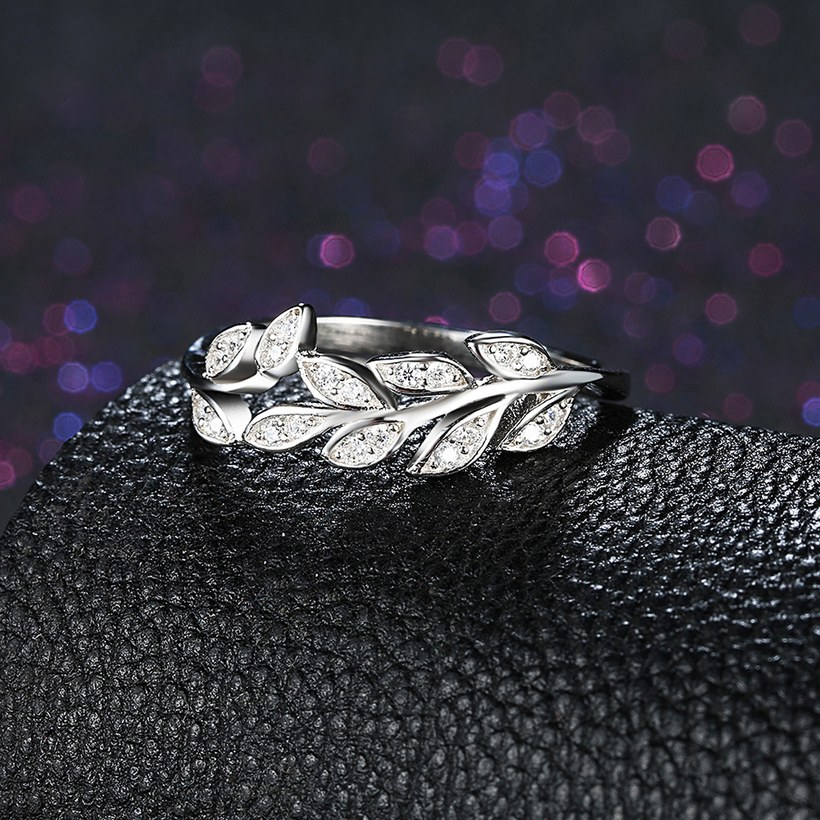 Wholesale Korean Trendy 925 Sterling Silver Handmade Olive Leaf Rings for Women Exquisite CZ Stone wholesale Jewelry TGSLR088 3