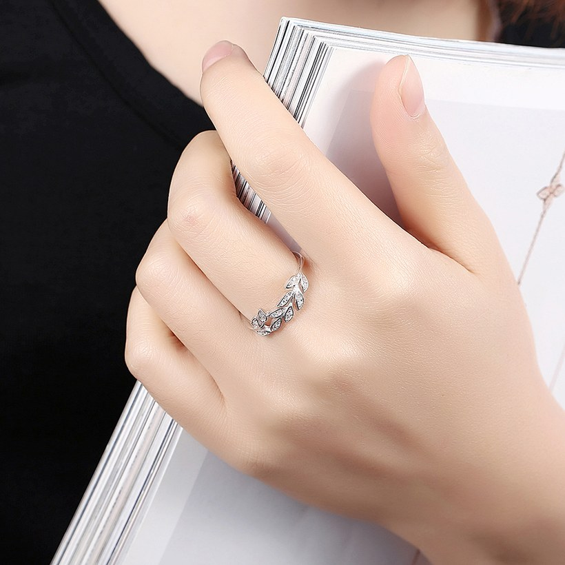 Wholesale Korean Trendy 925 Sterling Silver Handmade Olive Leaf Rings for Women Exquisite CZ Stone wholesale Jewelry TGSLR088 4