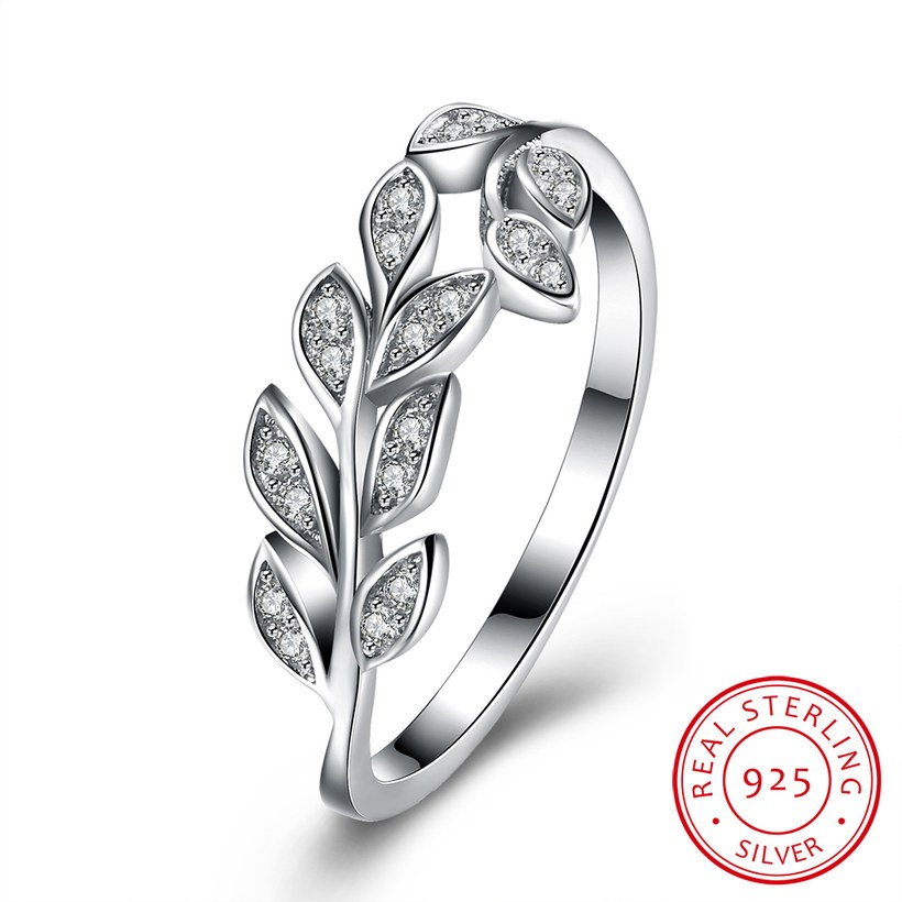 Wholesale Korean Trendy 925 Sterling Silver Handmade Olive Leaf Rings for Women Exquisite CZ Stone wholesale Jewelry TGSLR088 5