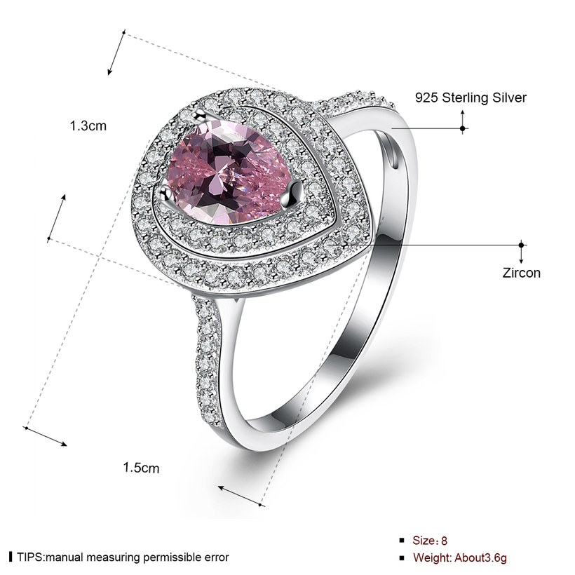 Wholesale  Fashion Jewelry 925 Silver Rings For Women Pink CZ Diamand Water Drop Engagement Bridal Wedding Accessories Ring  TGSLR096 0