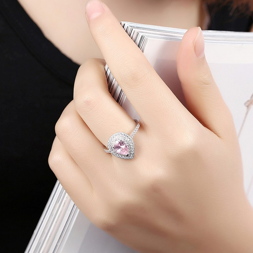 Wholesale  Fashion Jewelry 925 Silver Rings For Women Pink CZ Diamand Water Drop Engagement Bridal Wedding Accessories Ring  TGSLR096 4