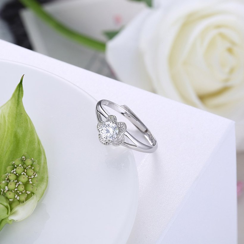 Wholesale Personality Fashion jewelry OL Woman Girl Party Wedding Gift Simple White AAA Zircon S925 Sterling Silver flower Ring TGSLR142 2