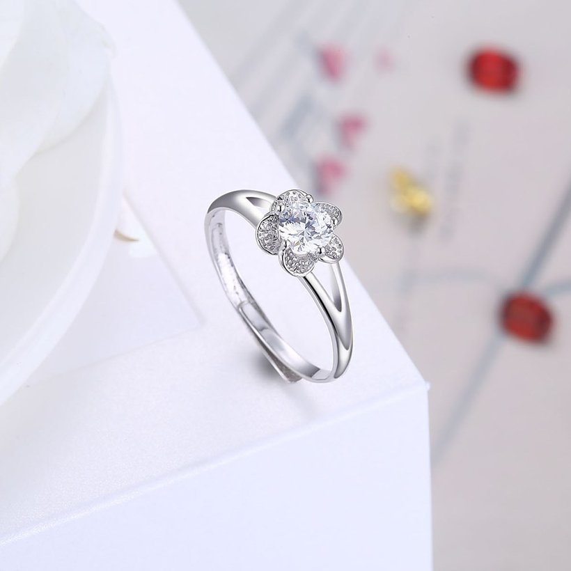 Wholesale Personality Fashion jewelry OL Woman Girl Party Wedding Gift Simple White AAA Zircon S925 Sterling Silver flower Ring TGSLR142 3