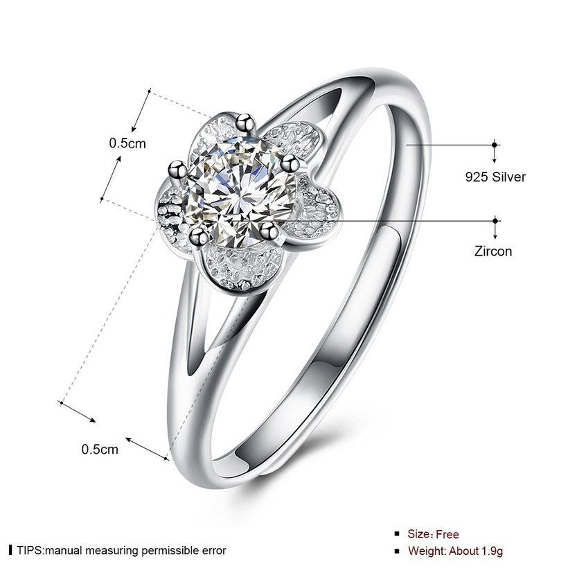 Wholesale Personality Fashion jewelry OL Woman Girl Party Wedding Gift Simple White AAA Zircon S925 Sterling Silver flower Ring TGSLR142 4