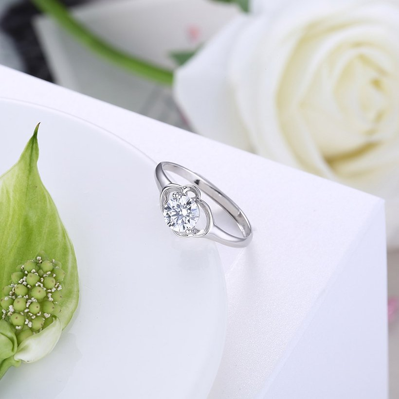 Wholesale Personality Fashion jewelry OL Woman Girl Party Wedding Gift Simple White AAA Zircon S925 Sterling Silver Ring TGSLR144 2