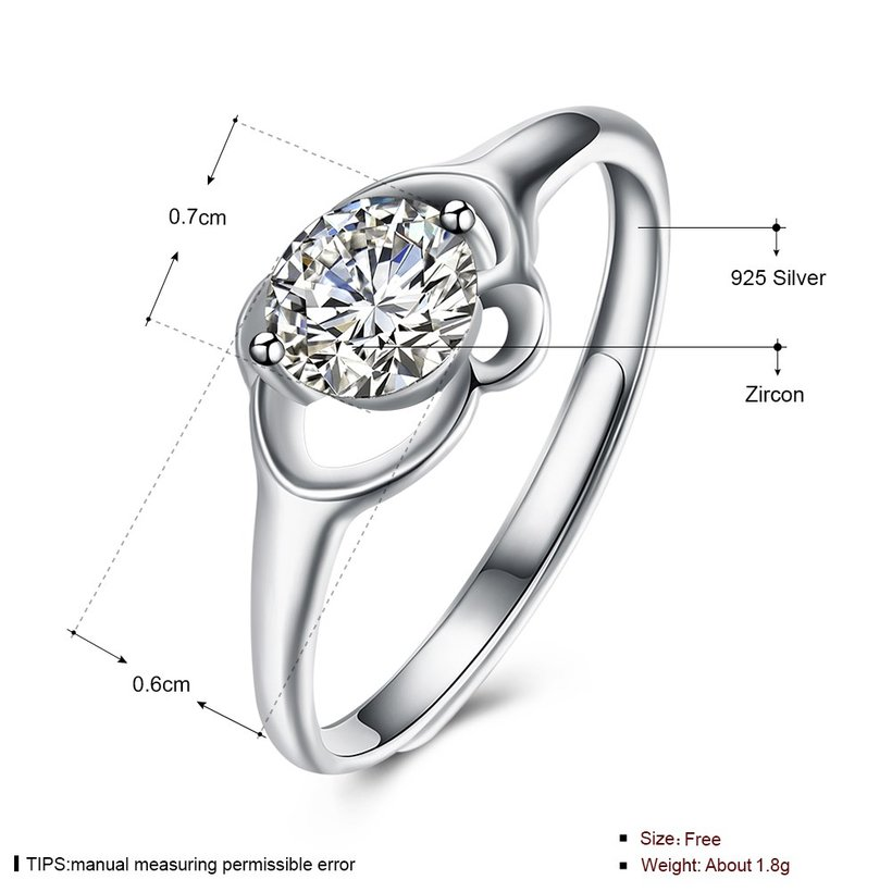 Wholesale Personality Fashion jewelry OL Woman Girl Party Wedding Gift Simple White AAA Zircon S925 Sterling Silver Ring TGSLR144 4