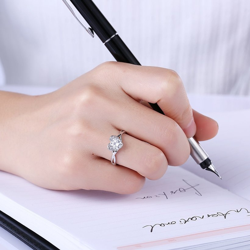 Wholesale Romantic Personality jewelry OL style Woman Party Wedding Gift Simple White AAA Zircon S925 Sterling Silver resizable Ring  TGSLR162 0