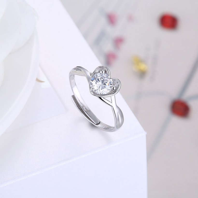 Wholesale Romantic Personality jewelry OL style Woman Party Wedding Gift Simple White AAA Zircon S925 Sterling Silver resizable Ring  TGSLR162 3
