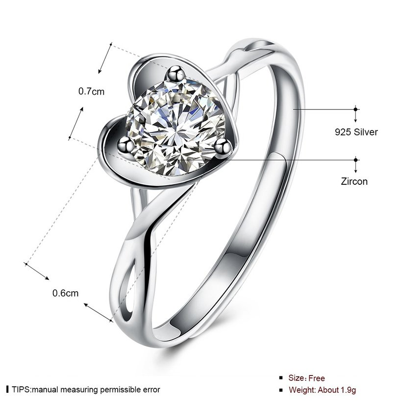 Wholesale Romantic Personality jewelry OL style Woman Party Wedding Gift Simple White AAA Zircon S925 Sterling Silver resizable Ring  TGSLR162 4