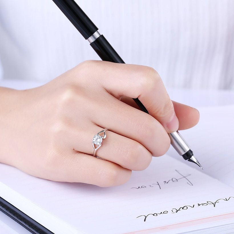 Wholesale Trendy Romantic Resizable 925 Sterling Silver Ring OL style Woman Party Wedding Gift Simple White AAA Zircon Ring  TGSLR183 0