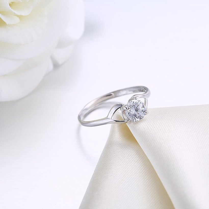 Wholesale Trendy Romantic Resizable 925 Sterling Silver Ring OL style Woman Party Wedding Gift Simple White AAA Zircon Ring  TGSLR183 1