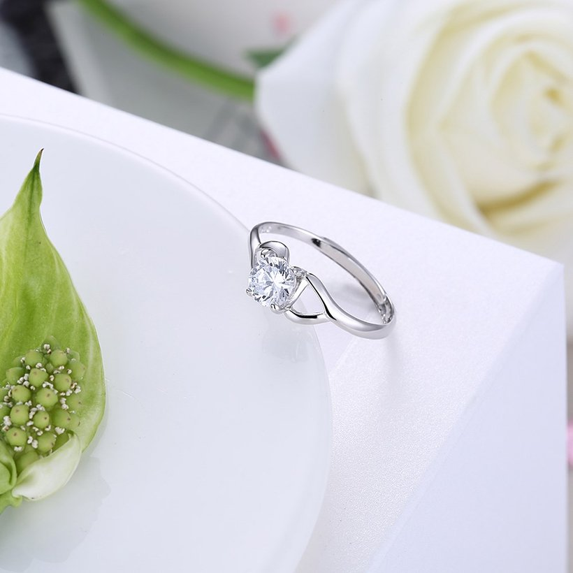Wholesale Trendy Romantic Resizable 925 Sterling Silver Ring OL style Woman Party Wedding Gift Simple White AAA Zircon Ring  TGSLR183 2