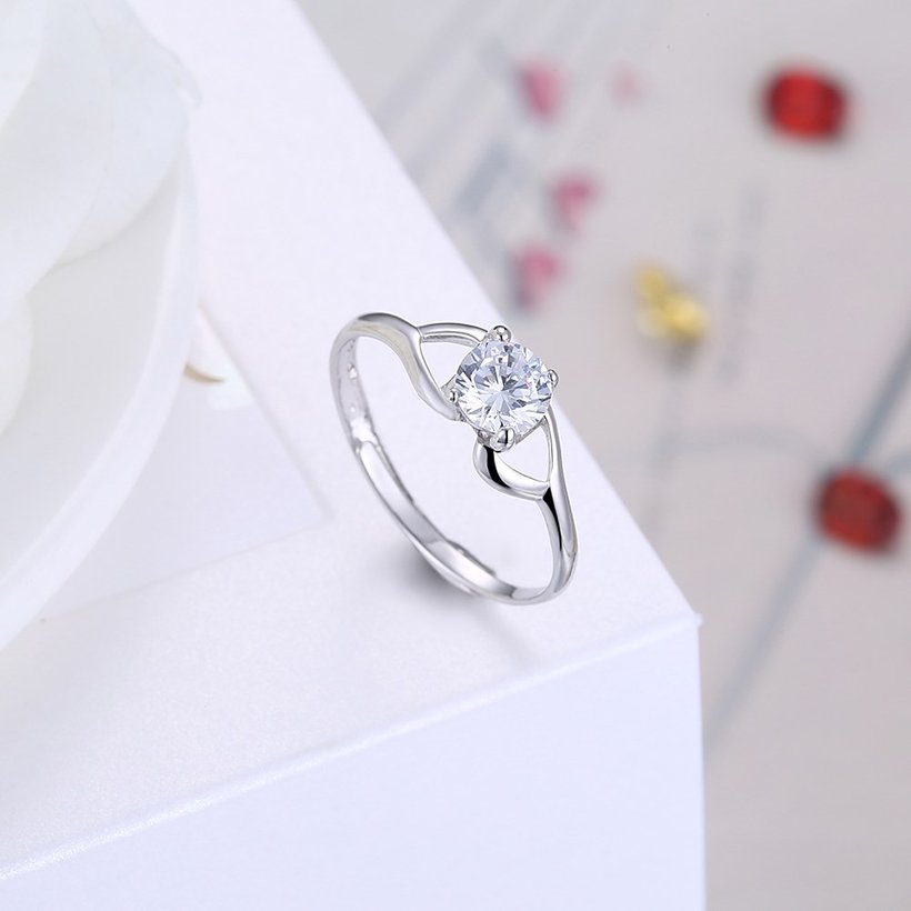 Wholesale Trendy Romantic Resizable 925 Sterling Silver Ring OL style Woman Party Wedding Gift Simple White AAA Zircon Ring  TGSLR183 3