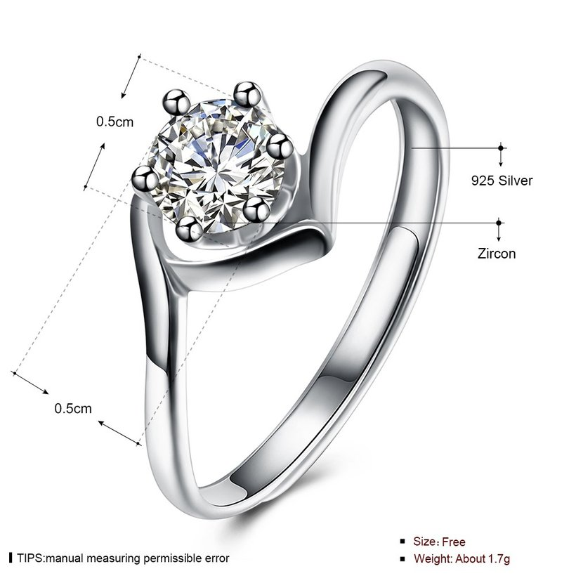 Wholesale Personality Fashion jewelry OL Woman Girl Party Wedding Gift Simple White AAA Zircon S925 Sterling Silver Ring TGSLR190 4